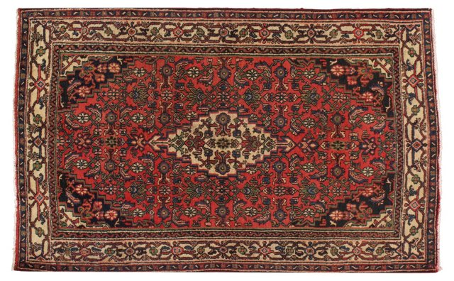 "4'3"" x 6'10"" Persian Rug, Red/Ivory"