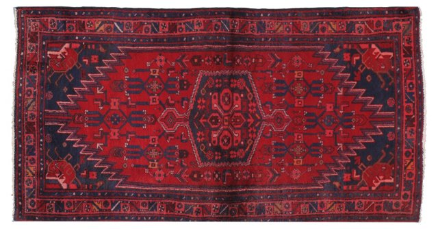 "3'5"" x 6'5"" Persian Rug, Red/Navy/Salmon"