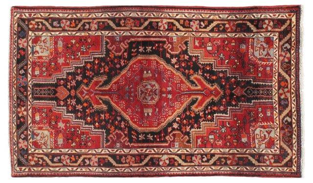 "4'5"" x 7'7"" Persian Rug, Black/Red"