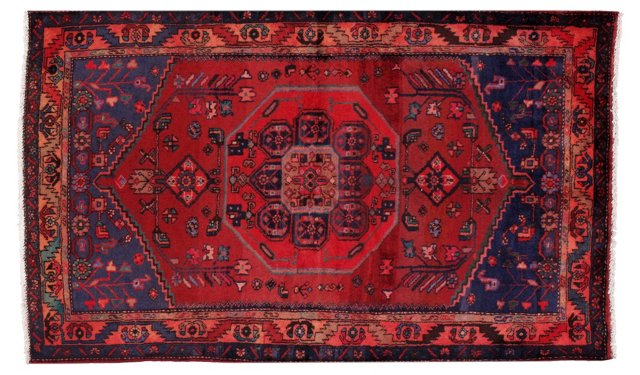 "4'1"" x 6'7"" Persian Rug, Red/Blue/Brown"