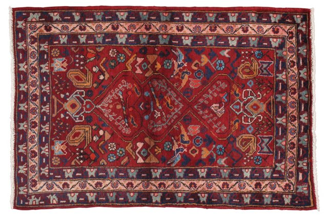 "4'2"" x 6'2"" Persian Rug, Red/Multi"