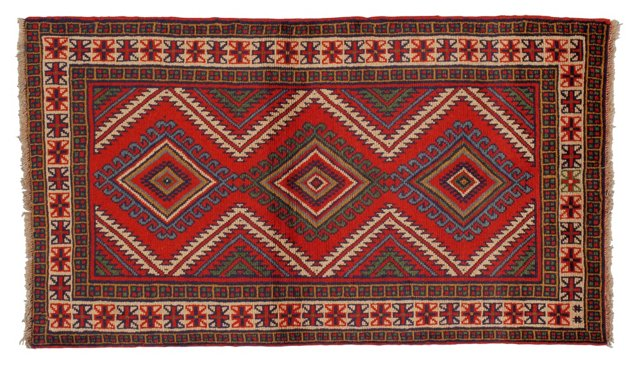 """3'8"""" x 6'2"""" Persian Rug, Red/Green/Ivory"""