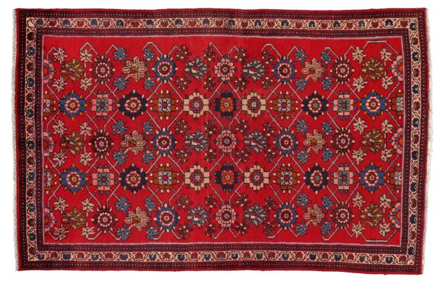 "4'5"" x 5'9"" Persian Rug, Red/Blue/Ivory"