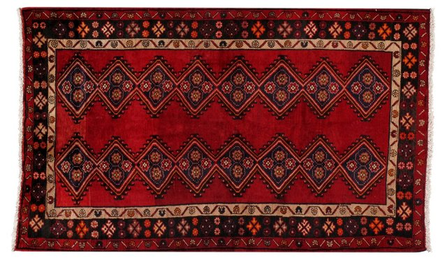 "4'2"" x 6'10"" Persian Rug, Red/Blue"