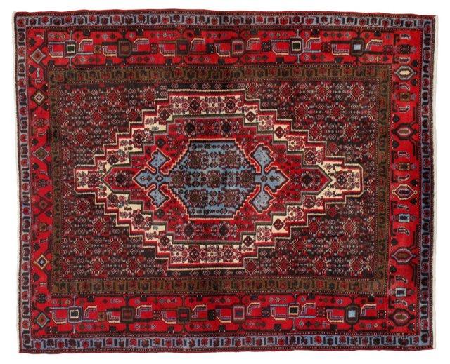 """4'1"""" x 5'1"""" Persian Rug, Red/Sky/Brown"""