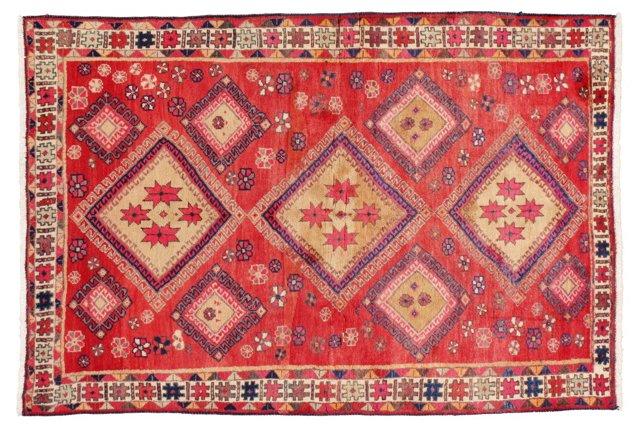 "4'7"" x 6'5"" Persian Rug, Red-Orange/Blue"