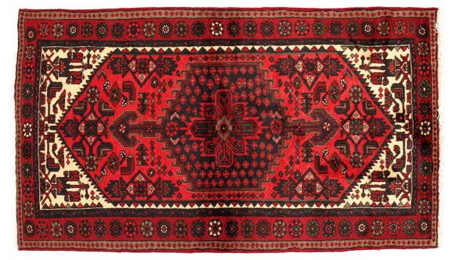 "4'1""x6'9"" Persian Rug, Red/Ivory/Navy"