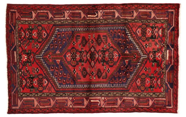 "4'2"" x 6'6"" Persian Rug, Red/Navy/Brown"