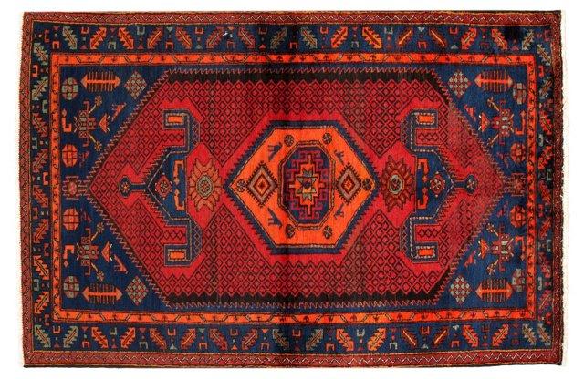 "4'3"" x 6'7"" Persian Rug, Red/Orange/Blue"