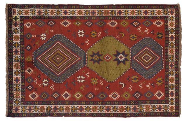 """3'9"""" x 5'8"""" Persian Rug, Red/Green/Blue"""