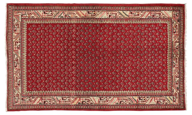 "4'3"" x 7'1"" Persian Rug, Ivory/Red/Blue"