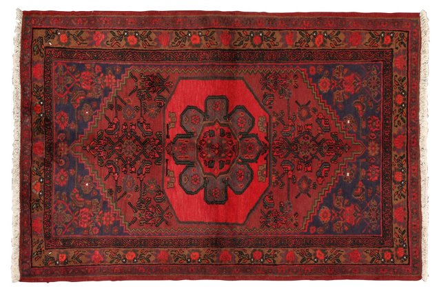 "4'6"" x 7'2"" Persian Rug, Red/Green/Blue"