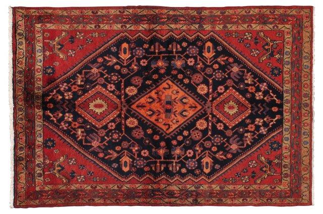 "4'6"" x 6'9"" Persian Rug, Black/Red/Blue"