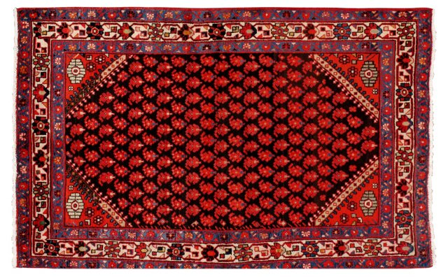 """4'2""""x6'10"""" Persian Rug, Black/Red/Ivory"""