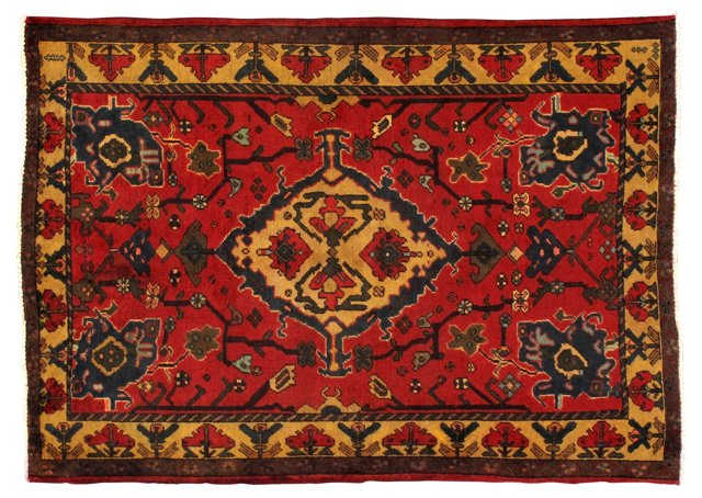"4'10"" x 6'9"" Persian Rug, Red/Gold/Multi"