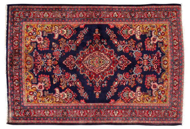 """4'4"""" x 6'5"""" Persian Rug, Red/Blue/Pea"""