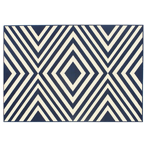 Andros Outdoor Rug, Navy