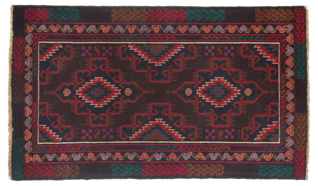 "2'9""x4'9"" Pakistani Baluch Rug, Red"