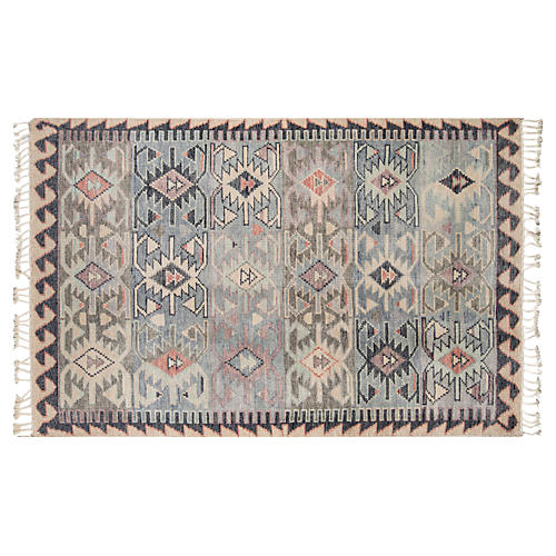 Cardosi Hand-Knotted Rug, Light Blue