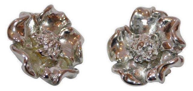 1980s Rose Earrings