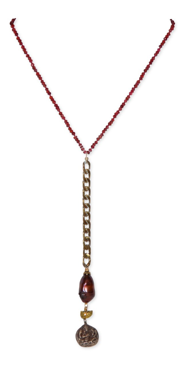 Ruby & English Fob Chain Necklace
