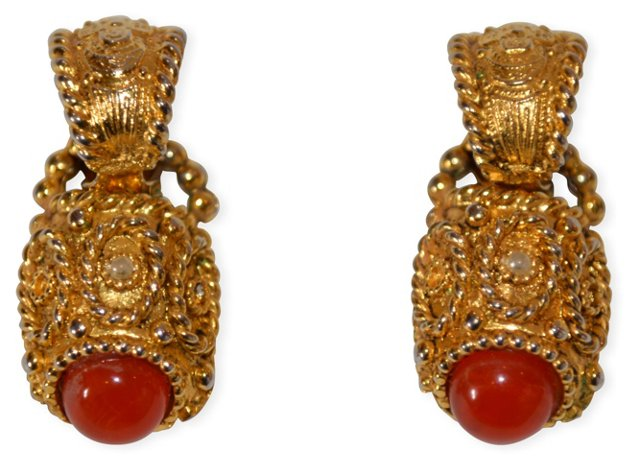 1980s French Etruscan Earrings