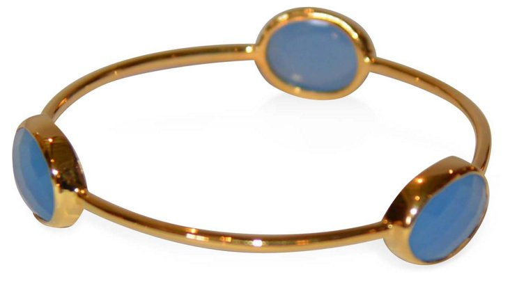 Three-Stone Chalcedony Bangle
