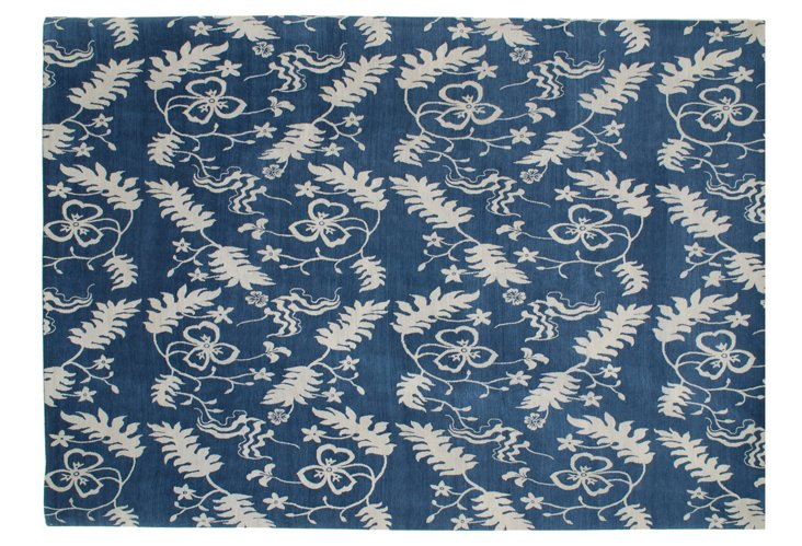 "10'2"" x 14'1"" Sky Frawn Rug, Blue/Cream"
