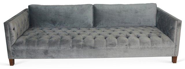 "Benjamin 100"" Tufted Sofa, Light Gray"