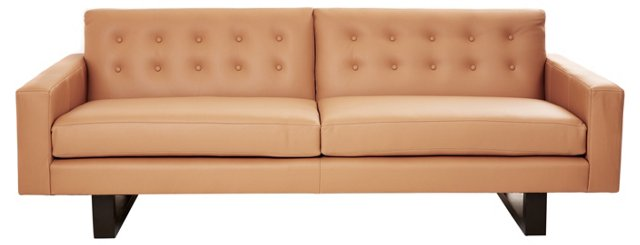 Mary Button-Tufted Leather Sofa, Caramel