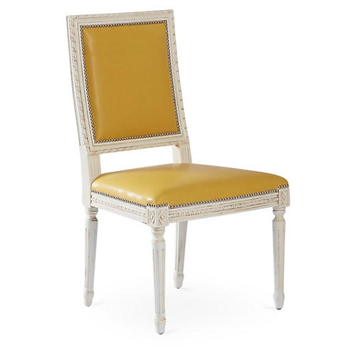 Louis Side Chair, Yellow Leather