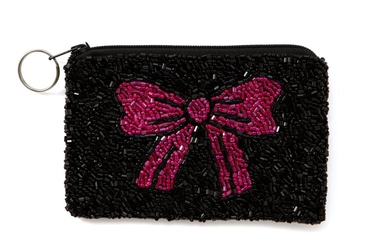 Pink Bow Beaded Zipper Pouch, Small
