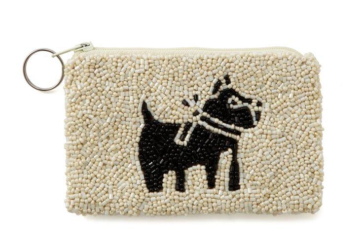 Black Dog Beaded Zipper Pouch, Small