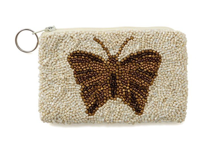 Butterfly Beaded Zipper Pouch, Small