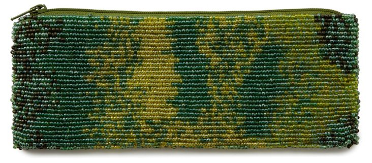 Green Multicolor Beaded Pencil Pouch