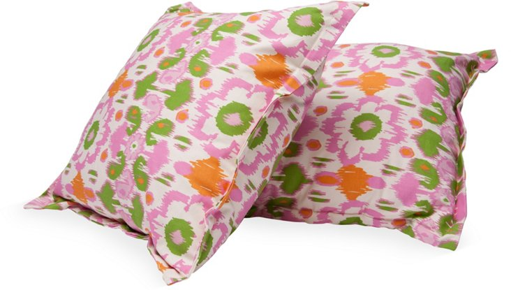 Floral Ikat Toss Pillows, Pair