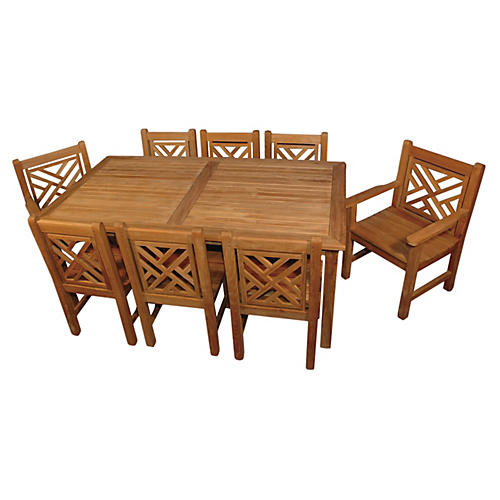 Lea Chippendale Table & Chair Set, Teak