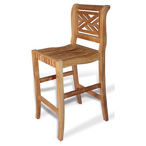 Teak Chippendale Bar Chair