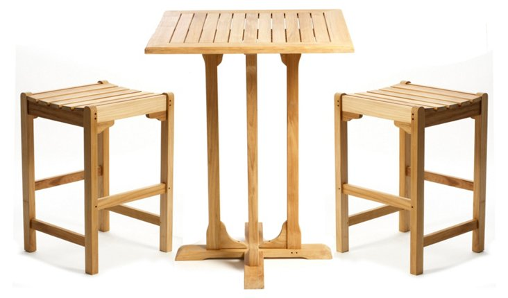 Teak Bar Table & Stools Set