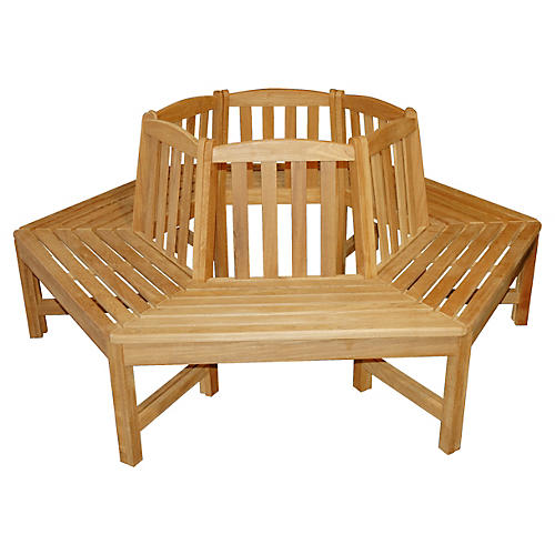 "Teak 240"" Hexagonal Tree Bench"