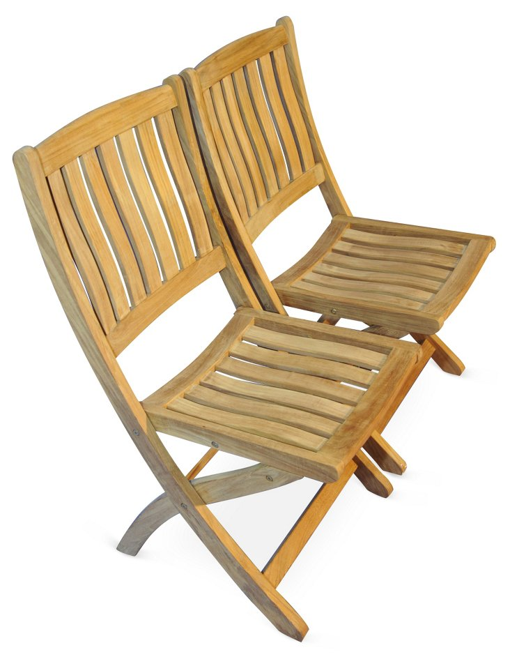 DNU, Dup Teak Rockport Chairs, Set of 2