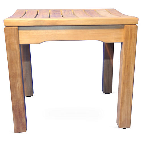 Teak Backless Bench Shower Stool, Honey