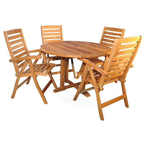 Newbury Teak Dining Set, Natural