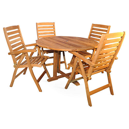 Newbury Teak Dining Set, Natural