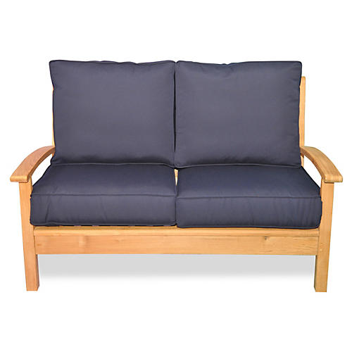 "Teak 52"" Loveseat, Navy"