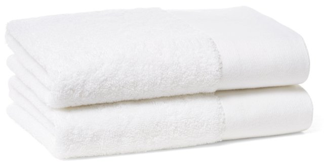 S/2 Dobby Border Hand Towels, White