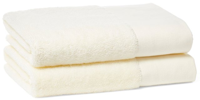 S/2 Dobby Border Hand Towels, Ivory