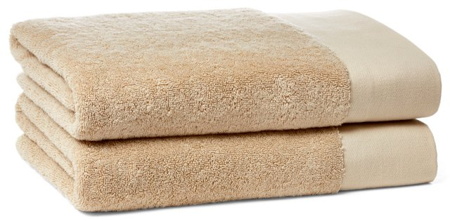 S/2 Dobby Border Bath Towels, Fawn