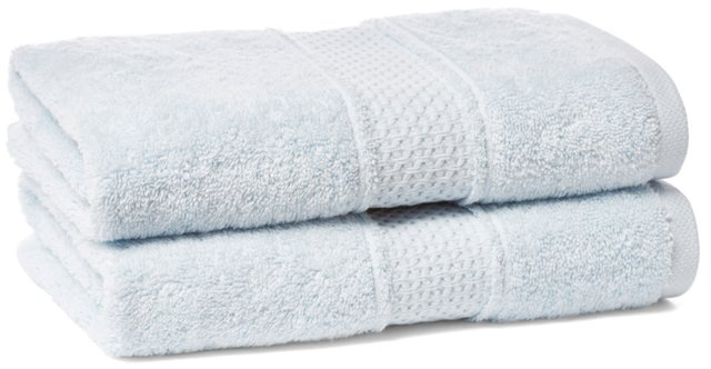 S/2 Classic Hand Towels, Ice Blue
