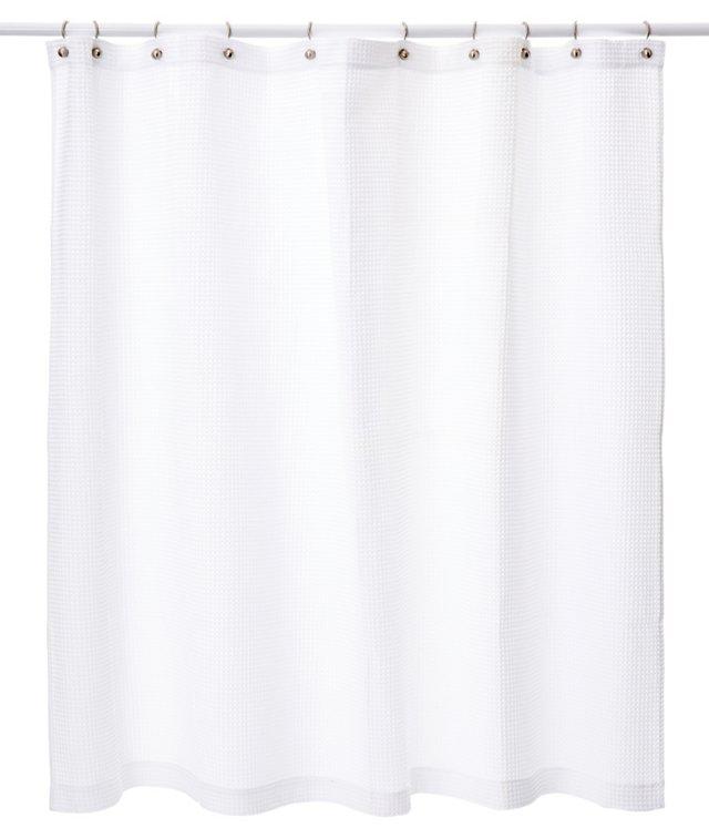 Waffle Shower Curtain, White